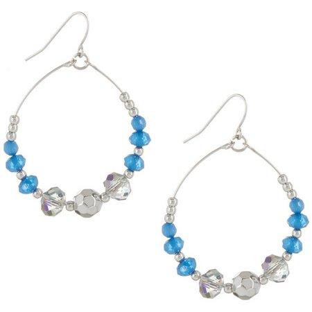 Coral Bay Blue Beaded Wire Hoop Earrings
