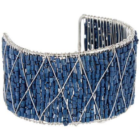 Coral Bay Victoria Blue Beaded Wide Cuff Bracelet