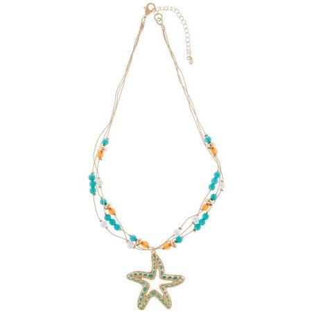 Coral Bay Starfish Pendant Gold Tone Necklace