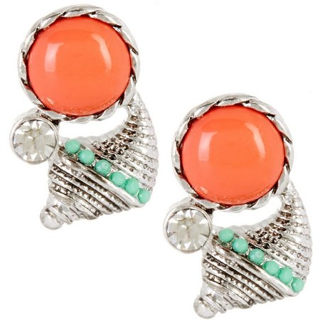 Coral Bay Coral Cabochon Silver Tone Shell Earrings