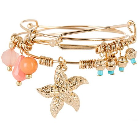 Coral Bay 3-pc. Starfish & Beaded Bangle Bracelet