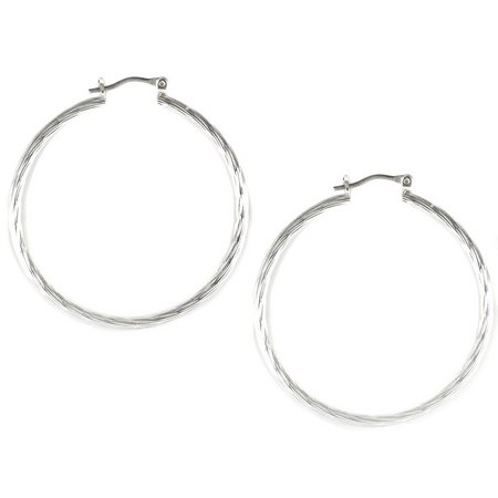 Bay Studio Silver Tone Striated Hoop Earrings