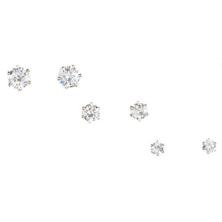 Bay Studio Clear Cubic Zirconia Trio Stud Earrings