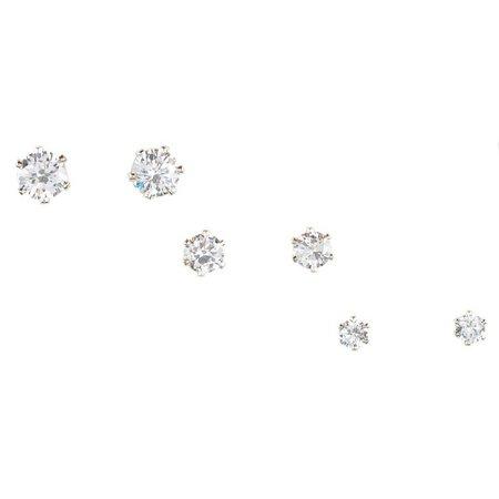 Bay Studio Clear Cubic Zirconia Trio Stud Earrings
