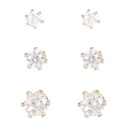 Bay Studio Crystal Trio Gold Tone Earring Set