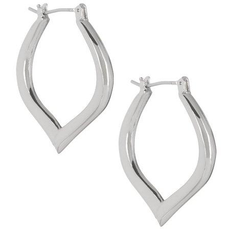 Bay Studio Curved Silver Tone Hoop Earrings
