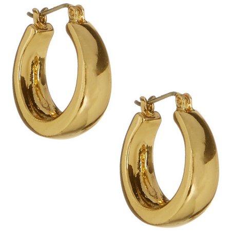 Bay Studio Gold Tone Oval Shape Hoop Earrings