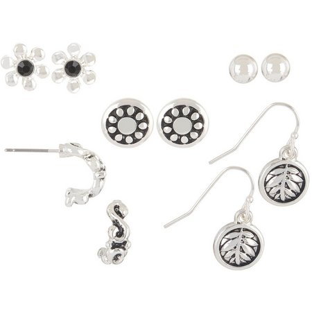 Bay Studio 5-pc. Silver Tone Flower Earring Set