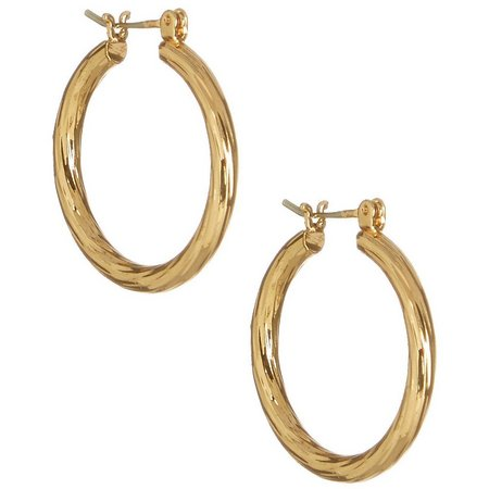 Bay Studio Striated Gold Tone Hoop Earrings
