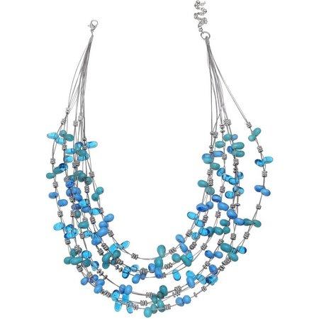 Izaro Aqua Blue Jelly Bean Shaped Bead Necklace
