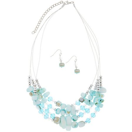 Izaro 4 Row Aqua Blue Shell Necklace Set