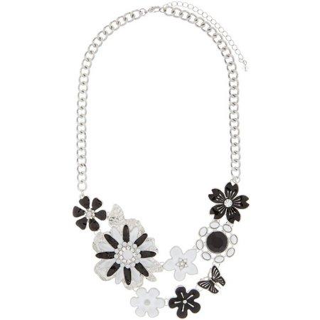 Izaro Black & White Flower Statement Necklace