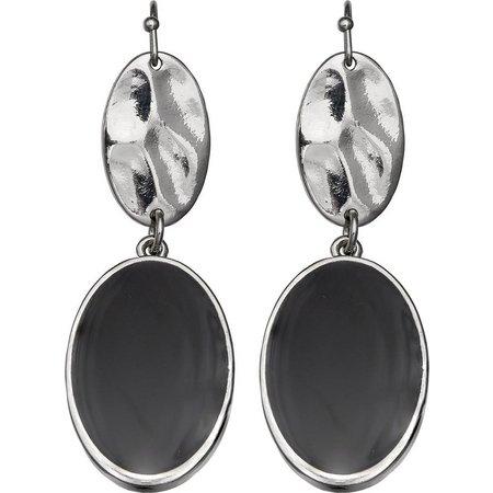 Izaro Black Enamel Double Oval Drop Earrings