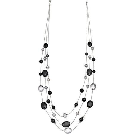 Izaro 3 Row Black Beaded Long Illsuion Necklace