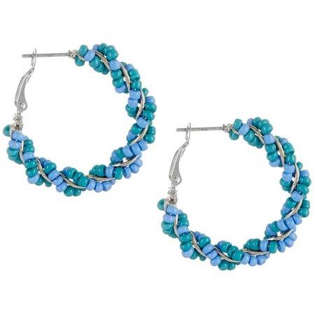 Izaro Blue Multi Seed Bead Wrapped Hoop Earrings
