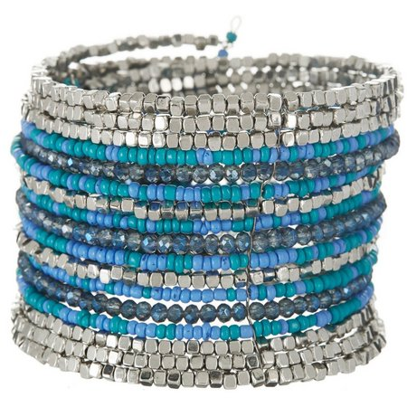 Izaro Blue Multi Seed Bead Cuff Bracelet