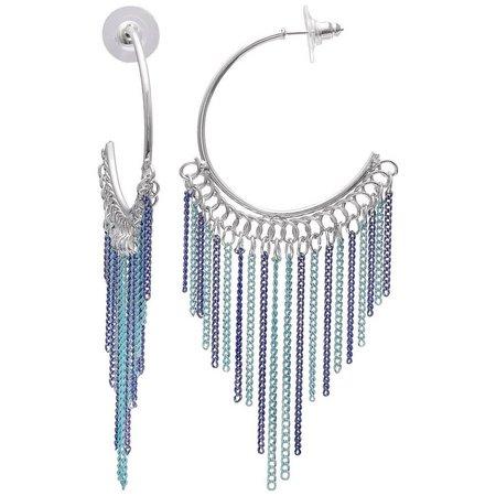 New! Izaro Blue Multi Chain Dangle Hoop Earrings