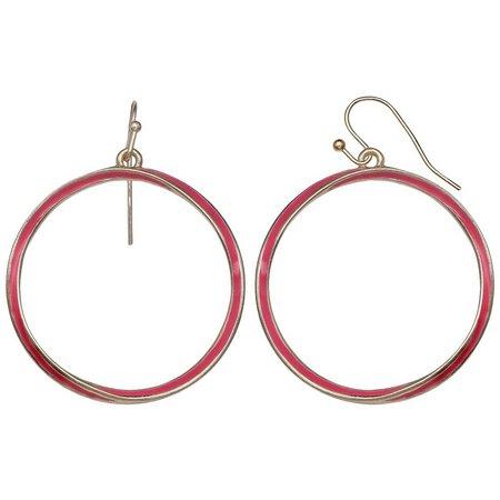 Juniper + Lime Pink Enamel Hoop Drop Earrings