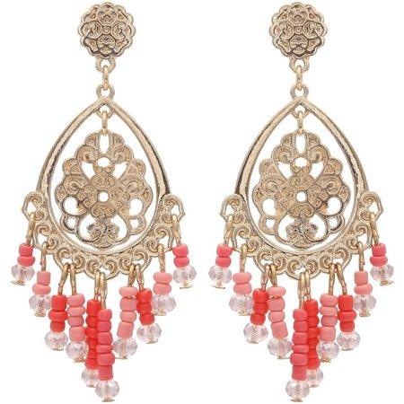 Coral Bay Seed Beads Ornate Gold Tone Earrings