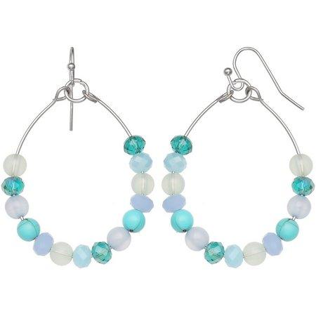Paradise Shores Blue Multi Beaded Hoop Earrings