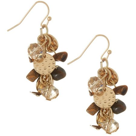Paradise Shores Tiger Eye Chip Cluster Earrings