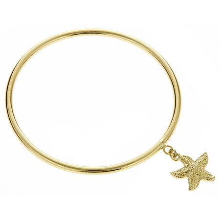 FORNASH Gold Tone Starfish Charm Bangle Bracelet