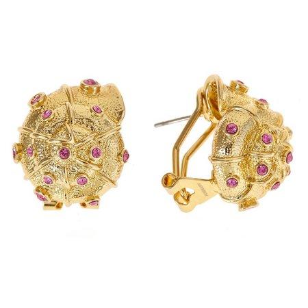FORNASH Pink Rhinestone Seashell Earrings
