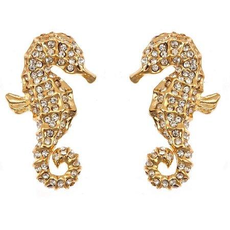 FORNASH Gold Tone Rhinestone Seahorse Earrings