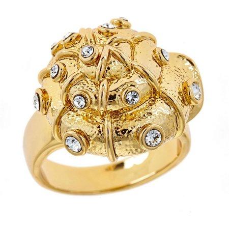FORNASH Rhinestone Shell Gold Tone Ring