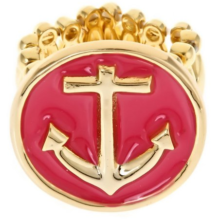 FORNASH Pink Enamel Anchor Stretch Ring