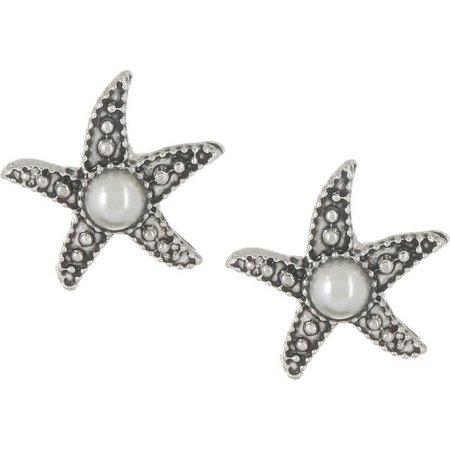 PIPER MADISON Faux Pearl Starfish Stud Earrings