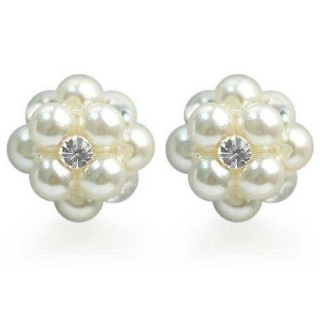Roman Faux Pearl & Crystal Stud Earrings