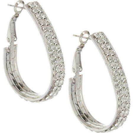 Roman Crystal Teardrop Hoop Earrings
