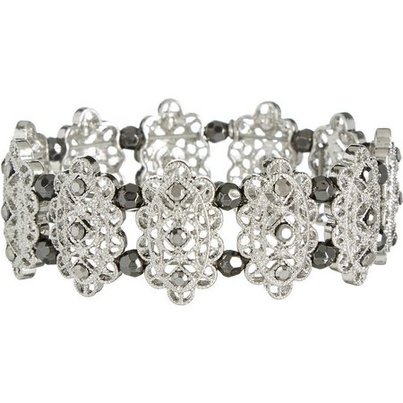 Roman Silver Tone Filigree Link Stretch Bracelet