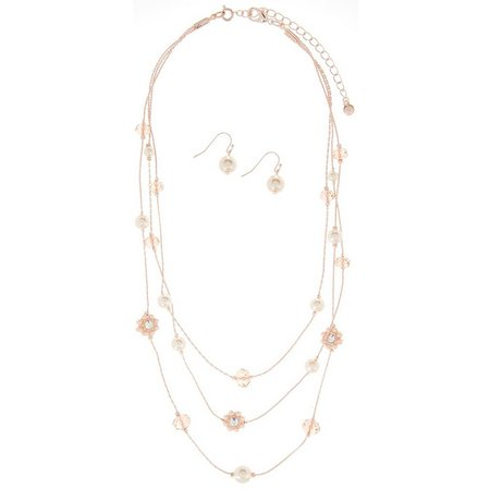 Roman Bead & Rose Gold Tone Necklace Set