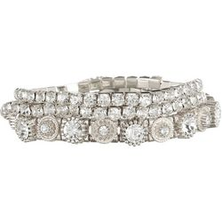 Roman 3-pc. Silver Tone Rhinestone Bracelet Set