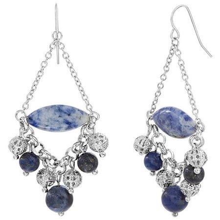 Coral Bay Blue Stone & Beaded Chandelier Earrings