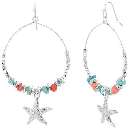 Coral Bay Beaded Wire Hoop Starfish Drop Earrings