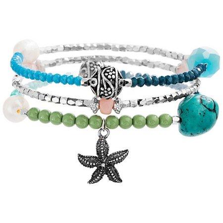 Coral Bay Beaded Starfish Stretch Bracelet Set