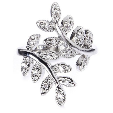 City by City Silver Tone Crossover Leaf Ring