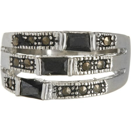 City by City Jet Marcasite Style Ring