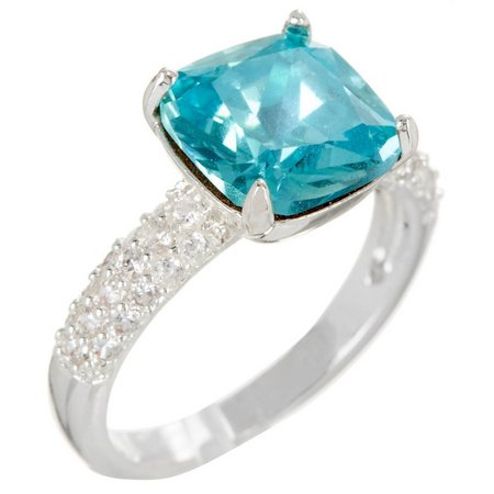 City by City Square Cut Aquamarine Blue Ring
