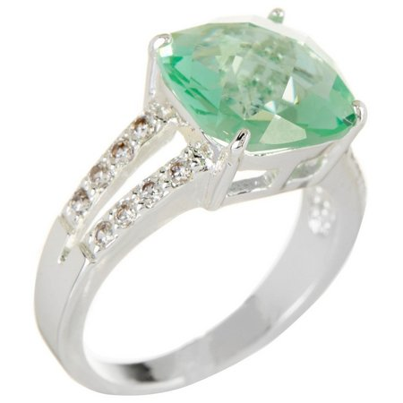 City by City Cushion Cut Chrysolite Green Ring