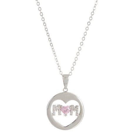 Bay Studio Pink CZ Heart Mom Necklace