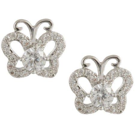 Bay Studio CZ Butterfly Stud Earrings