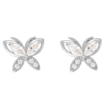 Bay Studio Cubic Zirconia Silver Tone Butterfly Earrings