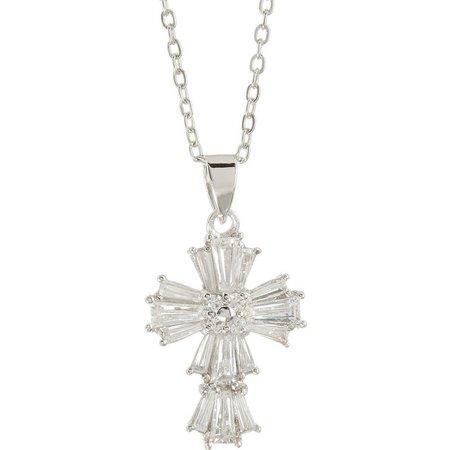Bay Studio Cubic Zirconia Cross Pendant Necklace