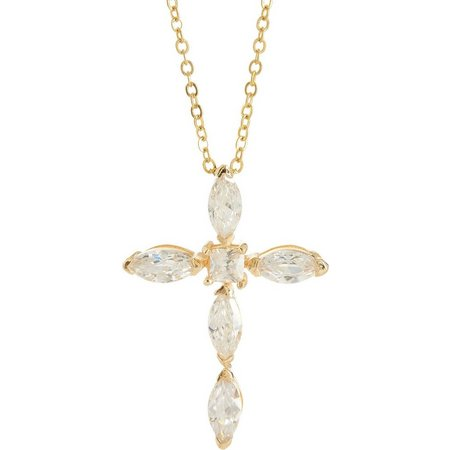 Bay Studio Marquee Cut CZ Cross Pendant Necklace