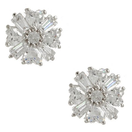 Bay Studio Cubic Zirconia Baguette Flower Earrings