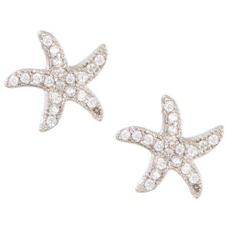 Bay Studio Pave CZ Starfish Stud Earrings